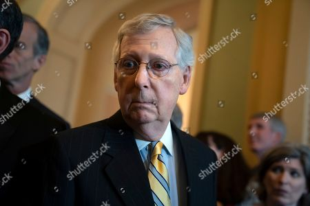 """Senate Majority Leader Mitch McConnell, R-Ky., answers questions about Senate Intelligence Committee Chairman Richard Burr, R-N.C., and his decision to subpoena Donald Trump Jr. who had backed out of two scheduled interviews as part of the panel's Russia investigation, during a news conference at the Capitol in Washington, . McConnell told his colleagues during the private GOP luncheon that he trusted the intelligence committee chairman and """"none of us tell Chairman Burr how to run his committee"""