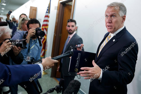 US Republican Senator from North Carolina Thom Tillis responds to a question from the news media about Donald Trump Jr. prior to the Senate Judiciary Committee hearing on '5G: National Security Concerns, Intellectual Property Issues, and the Impact on Competition and Innovation' on Capitol Hill in Washington, DC, USA, 14 May 2019. US officials have said that China's intelligence agencies will have access to all information on Huawei's 5G network.
