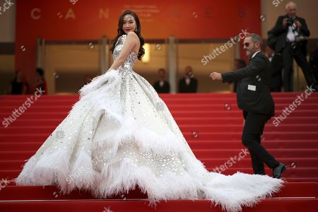 Singer Jessica Jung poses for photographers upon arrival at the opening ceremony and the premiere of the film 'The Dead Don't Die' at the 72nd international film festival, Cannes, southern France