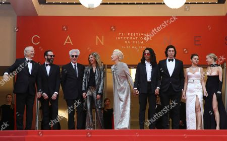 Chloe Sevigny, from right, Selena Gomez, Adam Driver, Luka Sabbat, Tilda Swinton, Sara Driver, director Jim Jarmusch, and actor Bill Murray, left, pose for photographers upon arrival at the opening ceremony and the premiere of the film 'The Dead Don't Die' at the 72nd international film festival, Cannes, southern France