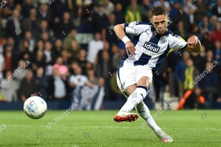 West Bromwich Albion defender Kieran Gibbs (3) takes a penalty during the EFL Sky Bet Championship play-off second leg match between West Bromwich Albion and Aston Villa at The Hawthorns, West Bromwich