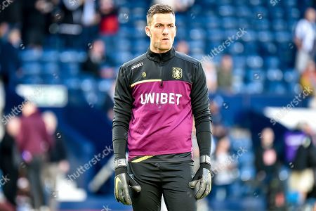 Aston Villa goalkeeper Lovre Kalinic (28) warms up during the EFL Sky Bet Championship play-off second leg match between West Bromwich Albion and Aston Villa at The Hawthorns, West Bromwich