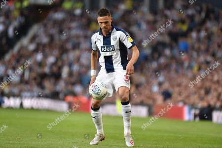West Bromwich Albion defender Kieran Gibbs (3) keeps his eyes on the ball during the EFL Sky Bet Championship play-off second leg match between West Bromwich Albion and Aston Villa at The Hawthorns, West Bromwich