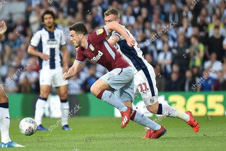 Aston Villa midfielder John McGinn (7) sprints forward with the ball  under pressure from West Bromwich Albion midfielder Chris Brunt (11) during the EFL Sky Bet Championship play-off second leg match between West Bromwich Albion and Aston Villa at The Hawthorns, West Bromwich