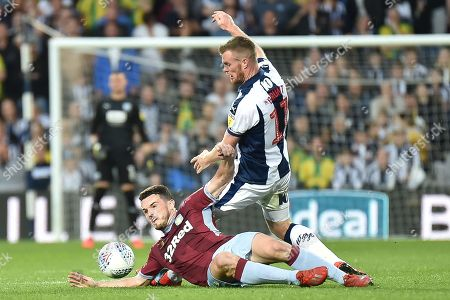 West Bromwich Albion midfielder Chris Brunt (11) fouls Aston Villa midfielder John McGinn (7) during the EFL Sky Bet Championship play-off second leg match between West Bromwich Albion and Aston Villa at The Hawthorns, West Bromwich