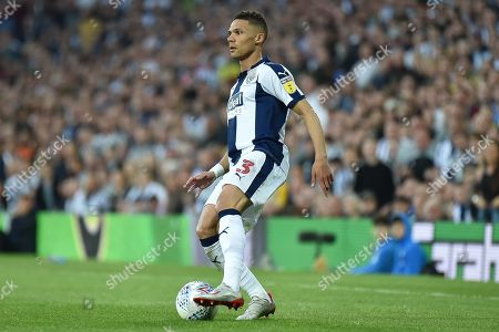 West Bromwich Albion defender Kieran Gibbs (3) looks for options during the EFL Sky Bet Championship play-off second leg match between West Bromwich Albion and Aston Villa at The Hawthorns, West Bromwich
