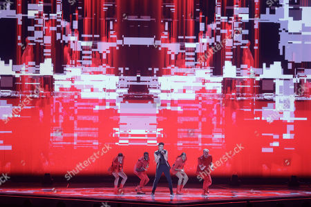 Luca Hanni of Switzerland performs during the 2019 Eurovision Song Contest second semi-final rehearsal in Tel Aviv, Israel