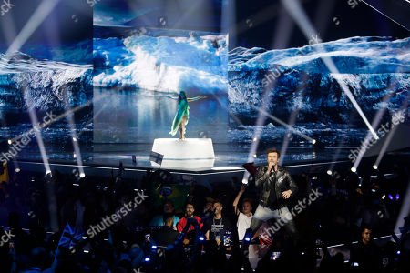Stock Image of Ville Virtanen feat. Sebastian Rejman of Finland performs during the 2019 Eurovision Song Contest semi-final in Tel Aviv, Israel