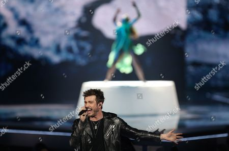 Stock Photo of Darude feat. Sebastian Rejman of Finland performs during the First Semi-Final of the 64th annual Eurovision Song Contest (ESC) at the Expo Tel Aviv, in Tel Aviv, Israel, 14 May 2019. The Second Semi-Final takes place on 16 May, and the Grand Final is held on 18 May.