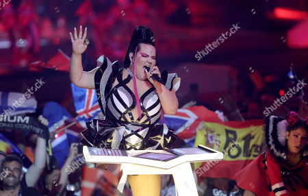 Winner of the 2018 Eurovision Song Contest Netta Barzilai (C) of Israel performs during the First Semi-Final of the 64th annual Eurovision Song Contest (ESC) at the Expo Tel Aviv, in Tel Aviv, Israel, 14 May 2019. The Second Semi-Final takes place on 16 May, and the Grand Final is held on 18 May.