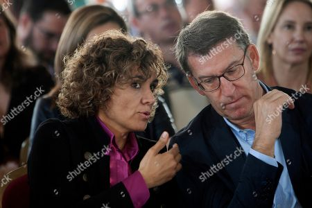 People's Party (PP) candidate for the European elections, Dolors Montserrat (L), and Galicia's regional President, Alberto Nunez Feijoo (R), attend an act held in Vigo, Galicia, northwest Spain, 14 May 2019. The European Union parliamentary elections will take place from 23 - 26 May 2019