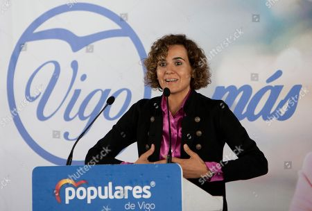 Stock Image of People's Party (PP) candidate for the European elections, Dolors Montserrat, speaks during an act held in Vigo, Galicia, northwest Spain, 14 May 2019. The European Union parliamentary elections will take place from 23 - 26 May 2019.