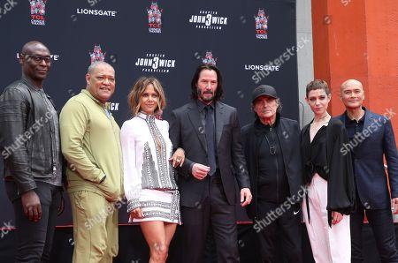 Lance Reddick, Laurence Fishburne, Halle Berry, Keanu Reeves, Ian McShane, Asia Kate Dillon, Mark Dacascos