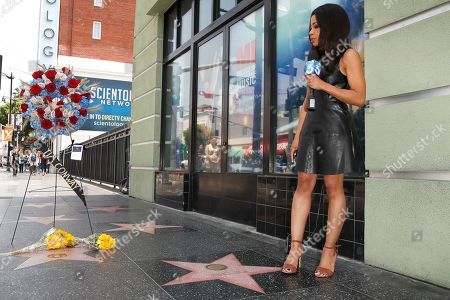 Stock Image of A reporter does a live segment on the Walk of Fame star for US actor Tim Conway in Hollywood, California, USA, 14 May 2019. Conway died at the age of 85, he was well known for his sketch comedy program in The Carol Burnett Show.
