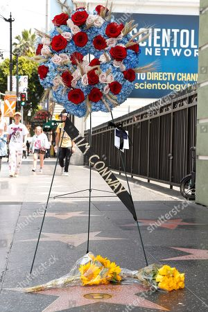 A wreath was placed by the Hollywood Chamber of Commerce on the Walk of Fame star for US actor Tim Conway in Hollywood, California, USA, 14 May 2019. Conway died at the age of 85, he was well known for his sketch comedy program in The Carol Burnett Show.
