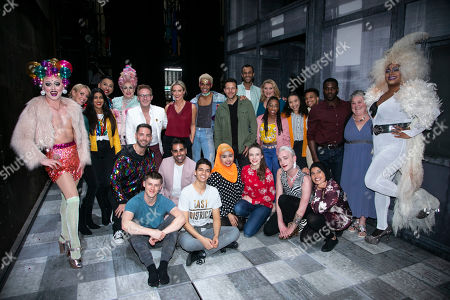 Bianca Del Rio (Hugo/Loco Chanelle), Ranj Singh, Faye Tozer (Miss Hedge), Ian H Watkins, Layton Williams (Jamie), Lee Latchford and members of the cast backstage
