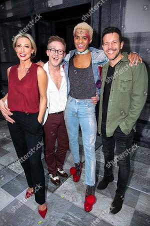 Faye Tozer (Miss Hedge), Ian H Watkins, Layton Williams (Jamie) and Lee Latchford backstage