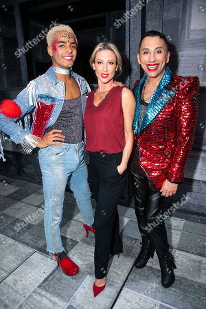 Layton Williams (Jamie), Faye Tozer (Miss Hedge) and Bianca Del Rio (Hugo/Loco Chanelle) backstage