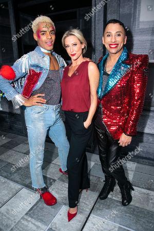 Layton Williams (Jamie), Faye Tozer (Miss Hedge) and Bianca Del Rio (Hugo/Loco Chanelle) backstage