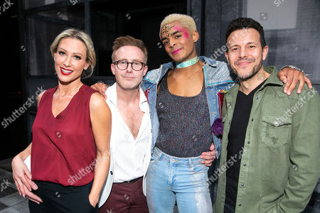 Stock Picture of Faye Tozer (Miss Hedge), Ian H Watkins, Layton Williams (Jamie) and Lee Latchford backstage