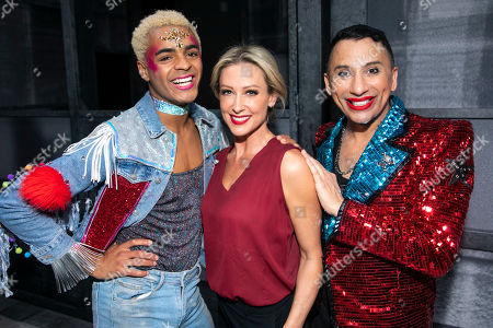 Stock Picture of Layton Williams (Jamie), Faye Tozer (Miss Hedge) and Bianca Del Rio (Hugo/Loco Chanelle) backstage