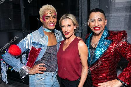 Stock Image of Layton Williams (Jamie), Faye Tozer (Miss Hedge) and Bianca Del Rio (Hugo/Loco Chanelle) backstage