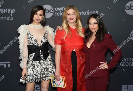 Stock Image of Sofia Carson, Sasha Pieterse, Janel Parrish. Sofia Carson, from left, Sasha Pieterse and Janel Parrish attend the Walt Disney Television 2019 upfront at Tavern on The Green, in New York
