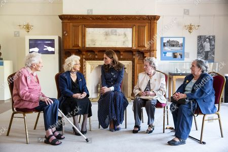 Catherine Duchess of Cambridge with Bletchley veterans Elizabeth Diacon, Georgina Rose, Audrey Mather and Rena Stewart.