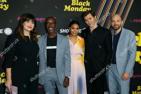 """Casey Wilson, Don Cheadle, Regina Hall, Andrew Rannells, Paul Scheer. Casey Wilson, from left, Don Cheadle, Regina Hall, Andrew Rannells and Paul Scheer, members of the cast of the Showtime series """"Black Monday,"""" arrive at the """"Black Monday,"""" FYC Event at the Saban Media Center at the Television Academy, in Los Angeles"""