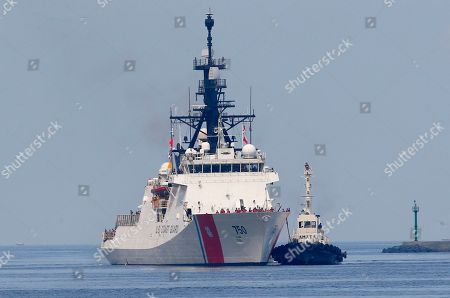 Stock Image of The U.S. Coast Guard National Security Cutter Bertholf (WMSL 750) arrives for a port call in the first visit by a U.S. cutter in over seven years, in Manila, Philippines. Capt. John Driscoll, commanding officer of the Bertholf, told reporters that two Chinese Coast Guard ships were spotted off the South China Sea while they were conducting a joint exercise with Philippine Coast Guard