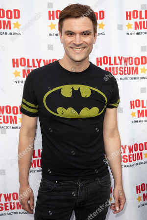 Kash Hovey arrives for the unveiling of the 'Batman' and 'The Six Million Dollar Man' exhibition at the Hollywood Museum in Los Angeles, California, USA, 14 May 2019. The Batman exhibition marks the 80th anniversary of the superhero.