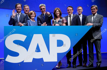 (L-R) Member of the board of SAP SE Luka Mucic, Stefan Ries, Adaire Fox-Martin, Bill McDermott, Chief Executive Officer (CEO) of SAP SE, Jennifer Morgan, Christian Klein, Juergen Mueller and Michael Kleinemeier pose for photographs prior to the annual general meeting (AGM) of the the Germany-based multinational business software developer, in Mannheim, Germany, 15 May 2019.