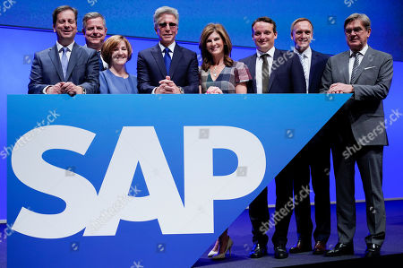 Stock Picture of (L-R) Member of the board of SAP SE, Luka Mucic, Stefan Ries, Adaire Fox-Martin, Bill McDermott, Chief Executive Officer (CEO) of SAP SE, Jennifer Morgan, Christian Klein, Juergen Mueller and Michael Kleinemeier poses for photographs prior to the annual general meeting (AGM) of the the Germany-based multinational business software developer, in Mannheim, Germany, 15 May 2019.