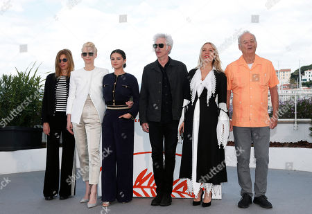 Sara Driver, British actress Tilda Swinton, US actress Selena Gomez, US director Jim Jarmusch, US actress Chloe Sevigny and US actor Bill Murray pose during the photocall for 'The Dead Don't Die' at the 72nd annual Cannes Film Festival, in Cannes, France, 15 May 2019. The movie is presented in the Official Competition of the festival which runs from 14 to 25 May.