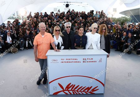 Bill Murray, US actress Chloe Sevigny, US director Jim Jarmusch, US actress Selena Gomez, British actress Tilda Swinton and US actress Sara Driver pose during the photocall for 'The Dead Don't Die' at the 72nd annual Cannes Film Festival, in Cannes, France, 15 May 2019. The movie is presented in the Official Competition of the festival which runs from 14 to 25 May.