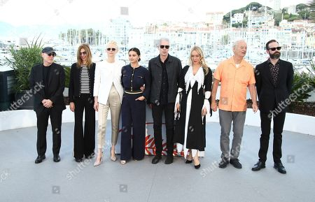 Sara Driver, Tilda Swinton, Selena Gomez, Jim Jarmusch, Chloe Sevigny, Bill Murray, Carter Logan. Producer Joshua Astrachan, from left, actors Sara Driver, Tilda Swinton, Selena Gomez, director Jim Jarmusch, actors Chloe Sevigny, Bill Murray and producer Carter Logan pose for photographers at the photo call for the film 'The Dead Don't Die' at the 72nd international film festival, Cannes, southern France