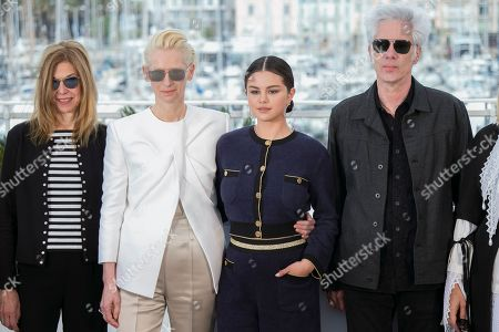 Selena Gomez, Tilda Swinton, Selena Gomez, Jim Jarmusch. Actors Sara Driver, Tilda Swinton, Selena Gomez and director Jim Jarmusch pose for photographers at the photo call for the film 'The Dead Don't Die' at the 72nd international film festival, Cannes, southern France