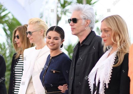 Sara Driver, Tilda Swinton, Selena Gomez, Jim Jarmusch, Chloe Sevigny. Actors Sara Driver, from left, Tilda Swinton, Selena Gomez, director Jim Jarmusch and actress Chloe Sevigny pose for photographers at the photo call for the film 'The Dead Don't Die' at the 72nd international film festival, Cannes, southern France