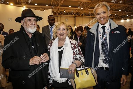 Stock Picture of Italian painter Michelangelo Pistoletto (L), Emanuela Del Re (C), Italian Deputy Minister for Foreign Affairs and International Cooperation and Pietro Piccinetti, director general of Fiera di Roma, at EXCO 2019 in Rome, Italy, 15 May 2019. The international cooperation fair runs from 15 to 17 May 2019.