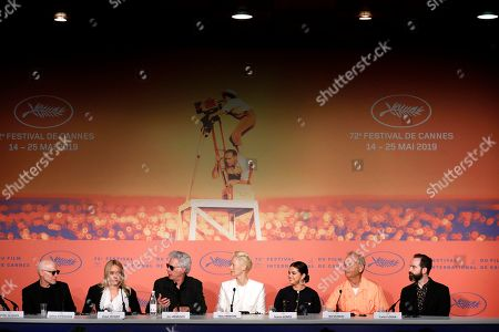 Joshua Astrachan, US actress Chloe Sevigny, US director Jim Jarmusch, British actress Tilda Swinton, US actress Selena Gomez, US actor Bill Murray and US producer Carter Logan attend the press conference for 'The Dead Don't Die' during the 72nd annual Cannes Film Festival, in Cannes, France, 15 May 2019. The movie is presented in the Official Competition of the festival which runs from 14 to 25 May.