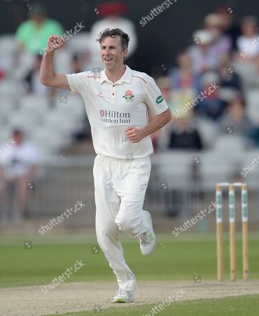 Graham Onions celebrates his first wicket