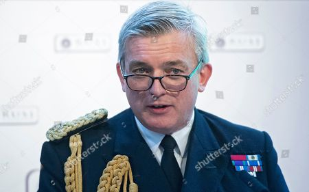 Stock Photo of First Sea Lord of the Royal Navy Admiral Sir Philip Jones speaks at the Royal United Services Institute (RUSI) during the First Sea Lord's Sea Power conference in London, Britain, 15 May 2019. The Defence Secretary delivered a keynote speech at the conference examining the opportunities and challenges involved in human-machine combat teaming for naval warfare.