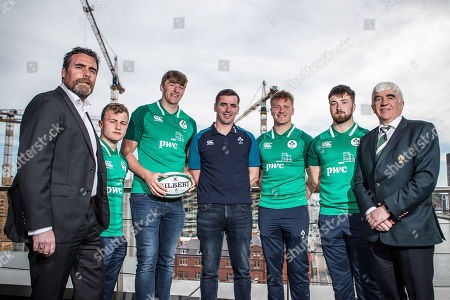Pictured today (L-R) PwC Partner Paraic Joyce, Craig Casey, Charles Ryan, head coach Noel McNamara, Stewart Moore, Dylan Tierney-Martin and Tony O'Beirne, IRFU Committee