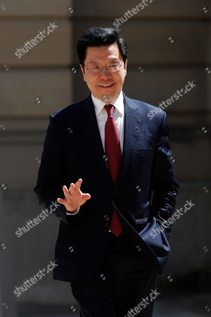 Chairman & CEO of Sinovation Ventures, Kai-Fu Lee arrives for the Tech for Good summit in Paris, in Paris. World leaders and tech bosses meet Wednesday in Paris to discuss ways to prevent social media from spreading deadly ideas