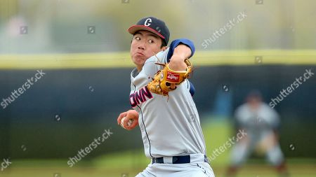 Connecticut's Jimmy Wang delivers a pitch during an NCAA college baseball game against Rhode Island, in Kingston, R.I
