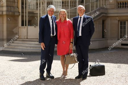 Stock Photo of From the left, former CEO of Publicis group, Maurice Levy, IBM CEO Virginia Rometty and French cosmetics giant L'Oreal CEO Jean-Paul Agon arrive for the Tech for Good summit, in Paris. World leaders and tech bosses meet Wednesday in Paris to discuss ways to prevent social media from spreading deadly ideas