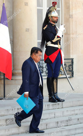 Indonesia's Vice President Jusuf Kalla leaves after a meeting with French President Emmanuel Macron and other state leaders for the 'Christchurch Appeal' against terrorism, at the Elysee Palace in Paris, France, 15 May 2019. A high level summit held in Paris aims at ways to tackle and eliminate terrorism and violent extremist content online. Several world leaders and tech bosses are meeting in Paris to find ways to stop acts of violent extremism from being shown online.