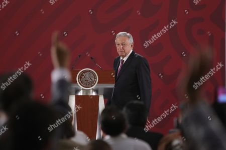 Mexican President Andres Manuel Lopez Obrador during the event to repeal the education reform of his predecessor, Enrique Pena Nieto, in Mexico City, Mexico, 15 May 2019.