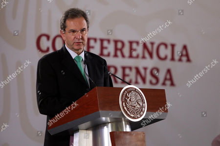 Mexico's Public Education Secretary Esteban Moctezuma speaks during the event to repeal the education reform of former Mexican President Enrique Pena Nieto, in Mexico City, Mexico, 15 May 2019.