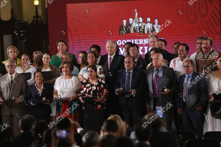 Mexican President Andres Manuel López Obrador (C), poses during the event to repeal the education reform of his predecessor, Enrique Pena Nieto, in Mexico City, Mexico, 15 May 2019.